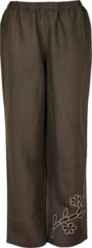 Women/'s Summer Trousers Elasticated Waist And Front Embroidery