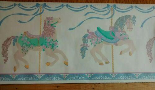 "-$10 max shipping Carousel Horses Wallpaper Border 5 yds 10.25/"" Tall"