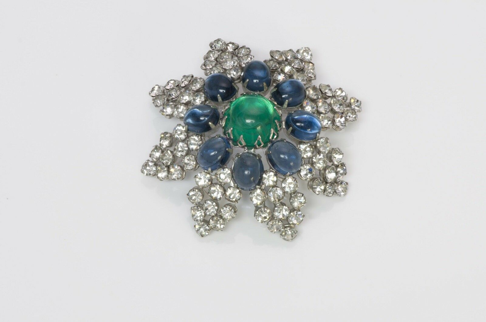 Arnold Scaasi Couture Faux Emerald Sapphire Caboc… - image 2