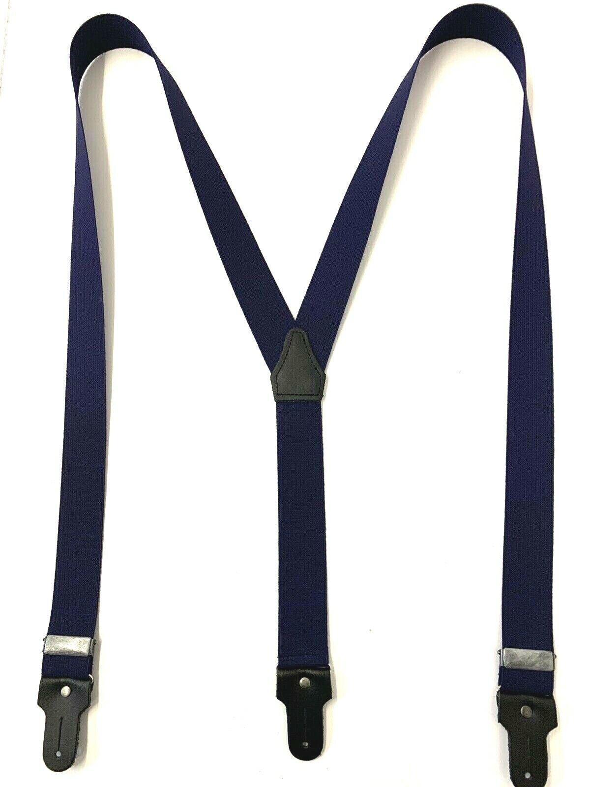 Sonderaktion Hosenträger 3 Knopflöcher blau mit echtem Leder 120cm Top Art.100