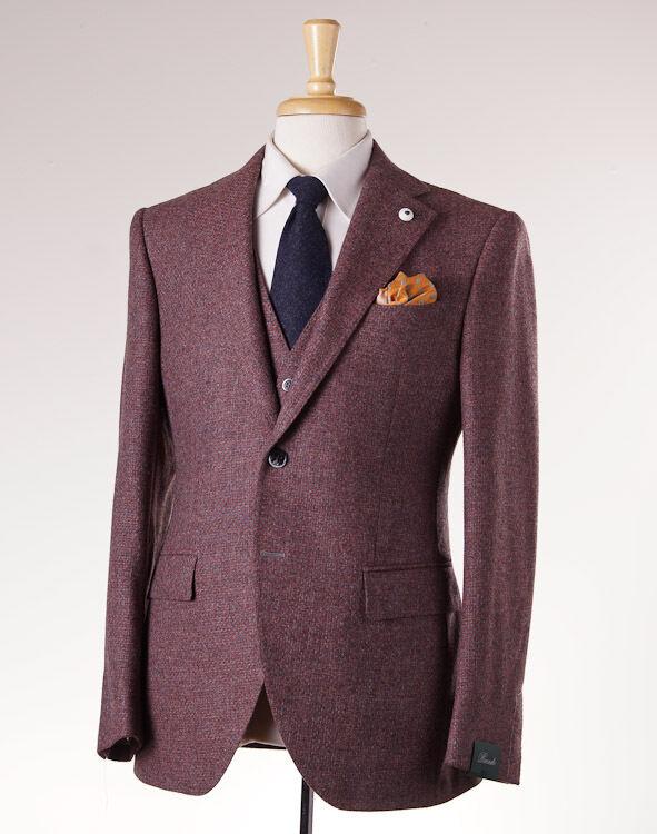 NWT 1525 BRANDO (L.B.M. 1911) Burgundy-grau Melange 3-Piece Wool  Suit 48/38 R