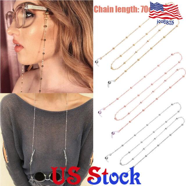 Black Beads Eyeglass Reading Glasses Eyewear Chain Holder Neck Cord Necklace