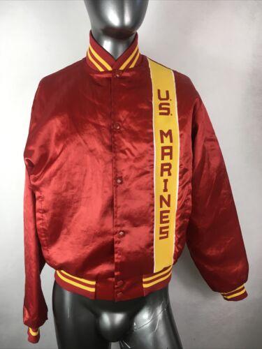 Vintage 80's Soffe Jacket US Marines USMC Red Sati