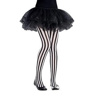 Le-Ragazze-Collant-a-righe-verticale-6-8-ANNI-Nero-Bianco-Festa-Di-Halloween-Pirata-UK-BN