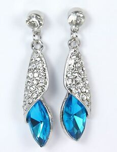 Women-039-s-Silver-Plated-Blue-Crystal-Drop-Dangle-Stud-Earrings-Jewellery