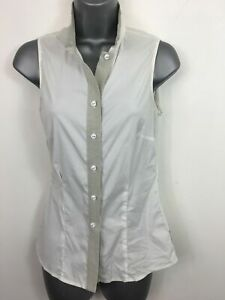 WOMENS-ARMANI-JEANS-CREAM-SLEEVELESS-SHIRT-FITTED-BUTTON-UP-CASUAL-SMALL-EUR-38