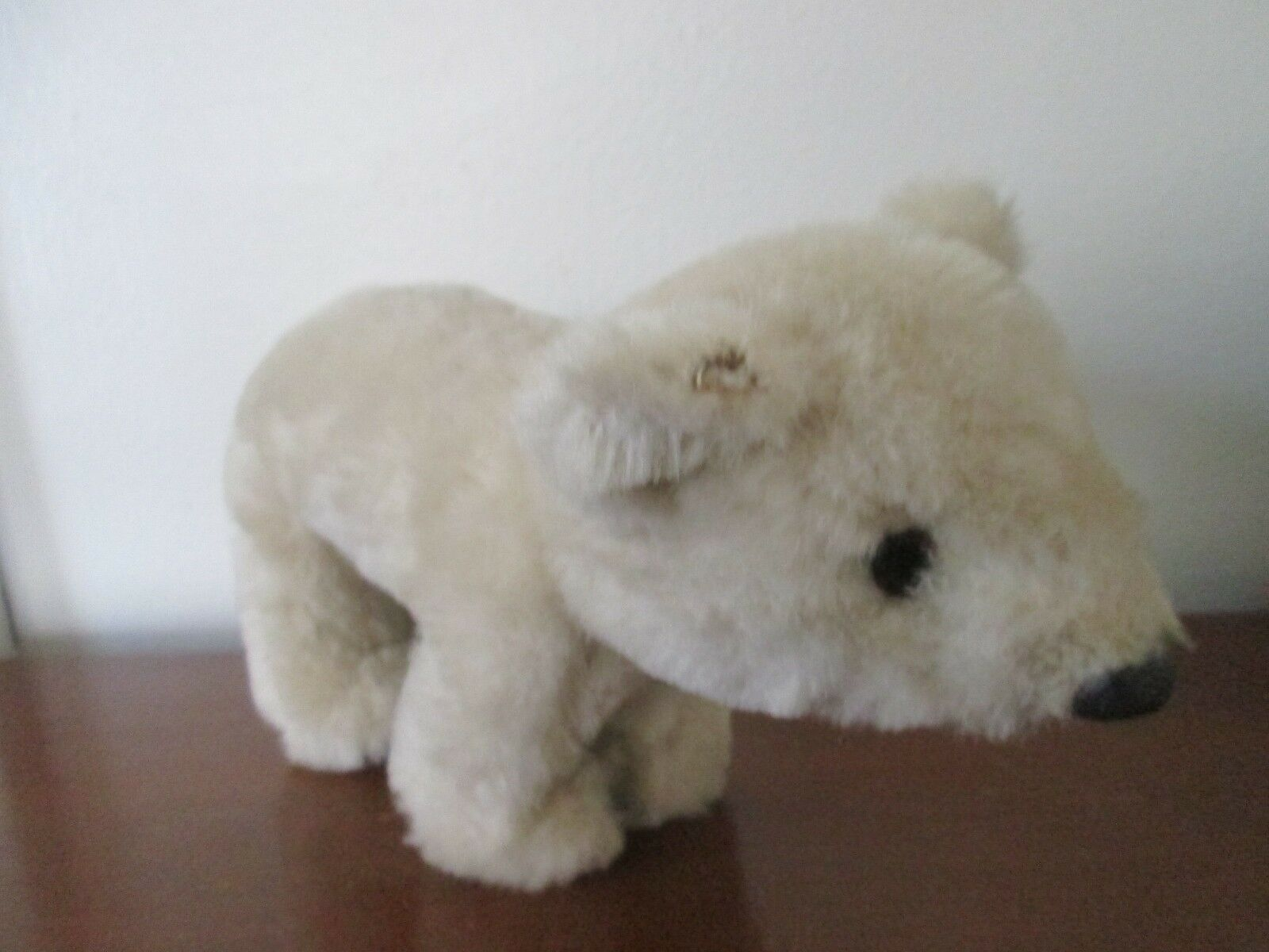 Vintage STUFFED POLAR BEAR Wool Plush TURNABLE HEAD