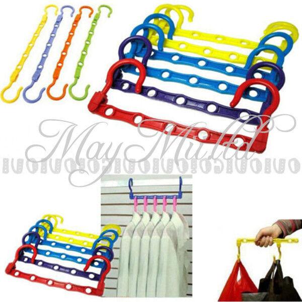 Portable Space Saver Wonder 5-Hole Magic Hanger Hook Closet Organizer Randomly
