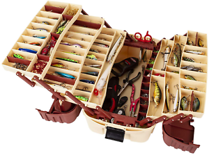Large Fishing Tackle Box 7 Tray Full Travel Holder Pack Handle-Locking Hip Roof