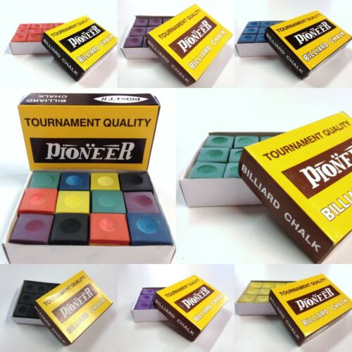 Pool Snooker Billiard Cue Tip Table Chalk Box Genuine Pioneer Choose Colour