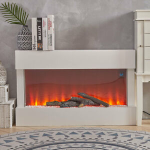 Electric Fireplace Heater Led Fire Flame White Surround Free Standing Hanging Uk Ebay