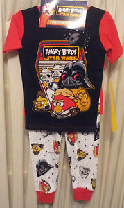 Angry-Birds-Size-4-Pajama-3-Pieces-Star-Wars-Long-Pants-Short-Sleeve-Top-Shorts