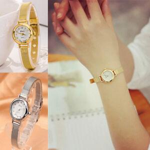 Women-039-s-Fashion-Lady-Bracelet-Stainless-Steel-Crystal-Dial-Quartz-Wrist-Watch
