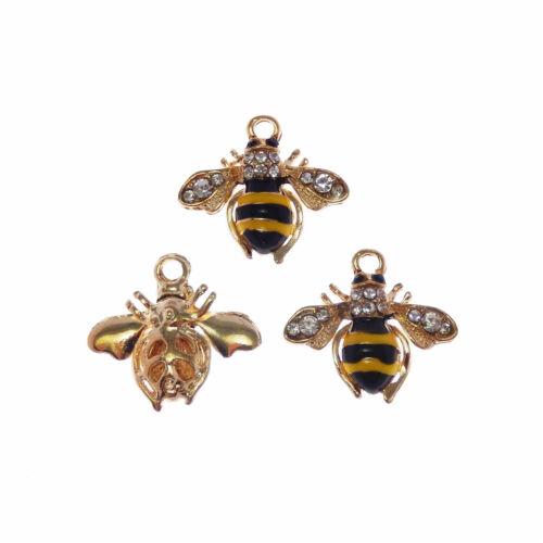 4pcs//pack émail cristal or abeilles en Forme Alliage Charms Pendants Findings 53281