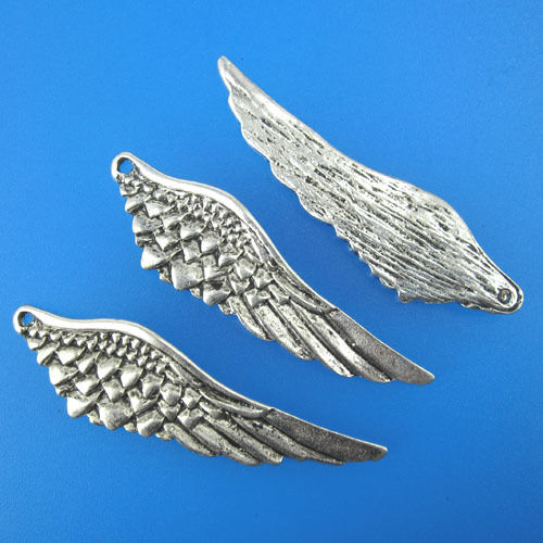 6pcs antiqued silver wing charm pendant/drops G273