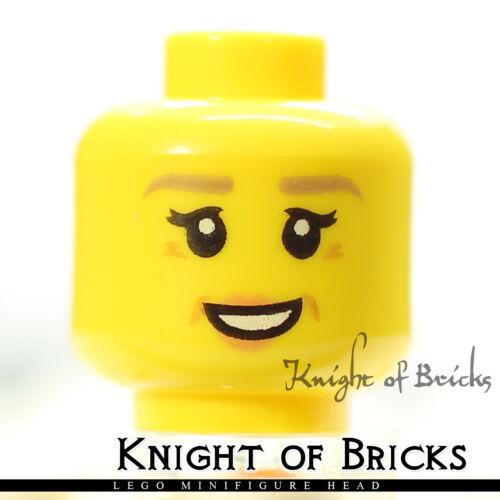 LEGO Minifigure Head YELLOW Female Dual Peach Lips Smile Dark Turquoise Shades