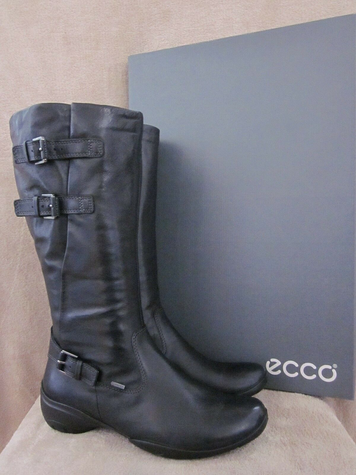 ECCO Rise Black High Cut Leather Buckle Zip Boots shoes US 9 - 9.5 M EUR 40 NWB