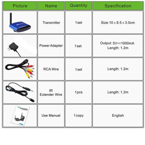 5.8GHz Wireless RCA AV IR Remote Extended for Digital TV Camera Satellite TV Box