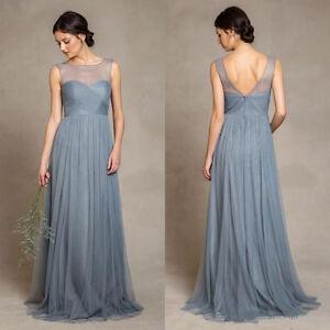 Dusty blue tulle wedding dress