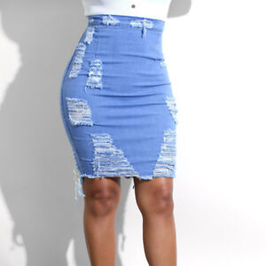 42f80db445 Women Stretch Pencil Skirt High Waist Hole Skirts Denim Jeans Short ...