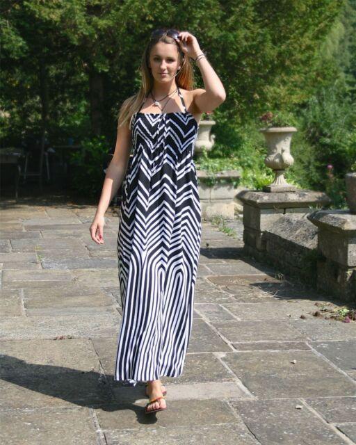 85424f88cfa M s Black White Stripe Strapless Summer Maxi Dress Size 12 for sale ...
