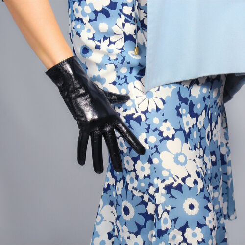 TECH GLOVES Real Leather Red Wrist Short Touchscreen Lambskin Sheepskin 25cm