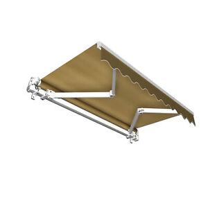 Markise Sonnenschutz Gelenkarmmarkise Handkurbel 400x300cm Braun Uni B-Ware