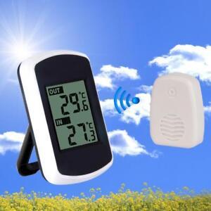 Digital-Wetterstation-Innen-Aussen-Thermometer-Wireless-Funk-mit-Aussenfuehler