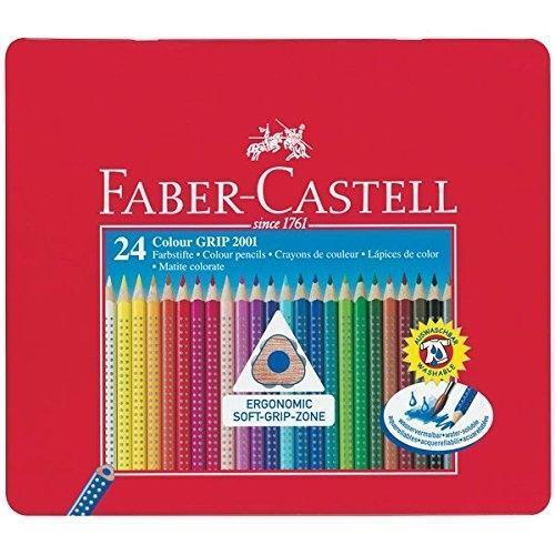 Alta Calidad Faber Castell Lata de Metal 24 Color Ergonómico Empuñadura Lápices