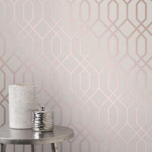 Fine-decor-Quartz-Treillage-Geometrique-Peint-FD42306-Metallique-Rose-or-Beige