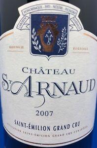 12 Fl, 2007,75 Cl, Grand Cru, 12,5%, Chateau St-arnaud Saint-Émilion, Rare-afficher Le Titre D'origine