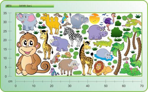 WALL STICKERS AFRICA Monkey Giraffe Zebra Decals For Baby Childrens Room SET #5