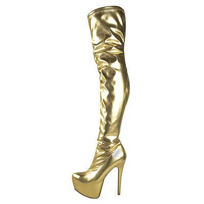 Nuevas señoras para mujer sobre la rodilla muslo Botas Stretch cuero cremallera Tallas 3 4 5 6 7 8