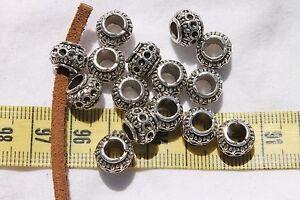 Round-Alloy-European-Large-Hole-Beads-Size-10x7mm-amp-5mm-Hole-Size-15-beads
