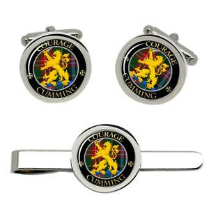 Cumming-Scottish-Clan-Cufflinks-and-Tie-Clip-Set