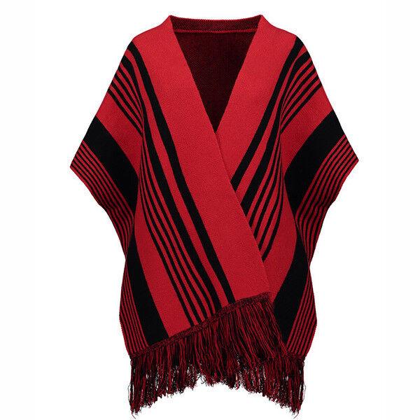 Maglia maglione stola donna maniche lunghe morbida rosso nero morbida morbida morbida  4609 133d77