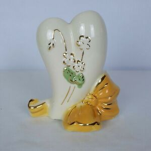 Vintage-Ceramic-Yellow-Bow-and-Heart-Planter-Vase-with-Flowers-Art-Deco-6-034