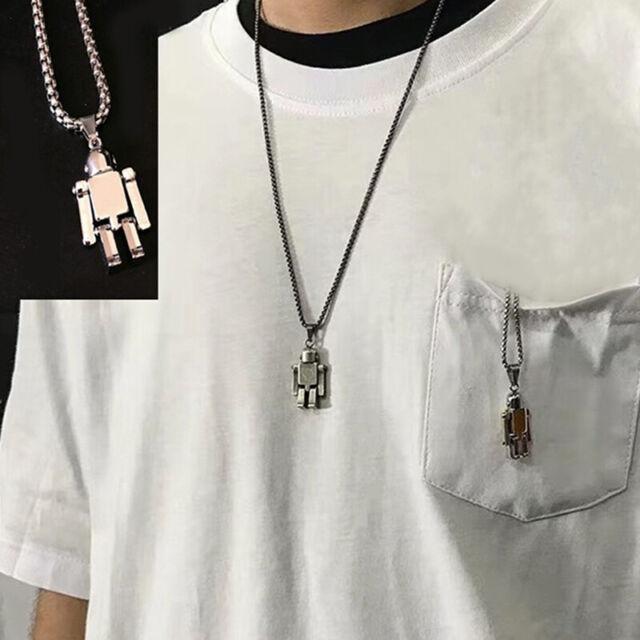 Mode Edelstahl Halskette Roboter Anhänger Choker HipHop Chain Charm JewwweXUI