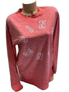 NWT-VICTORIA-s-Secret-PINK-long-Sleeve-Red-Graphic-Tee-Shirt-Size-Small
