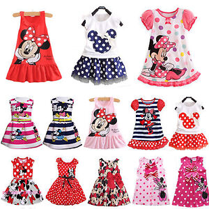 Kids-Girls-Cartoon-Minnie-Mouse-Party-Dress-Sleeveless-Vest-Skirt-Clothes-Tops