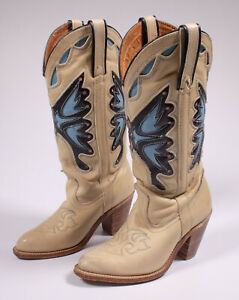 Details about Vintage Miss CAPEZIO Butterfly Cowboy Leather Ivory Boots 6 M