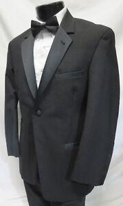 46R Perry Ellis Black Fashion Tuxedo Jacket /& Pant Suit for Prom Formal Wedding