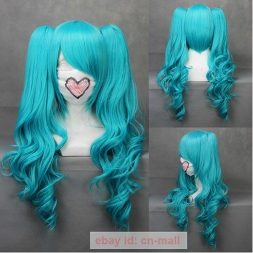 NEW VOCALOID-Hatsune Miku Mixed Blue Anime Cosplay Wavy Wig + 2 Clip On Ponytail
