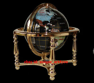 Social Studies Materials Unique Art 220-GB-BLUE-GOLD 13-Inch by 9-Inch Blue Lapis Ocean Table Top Gemstone World Globe with Gold Tripod