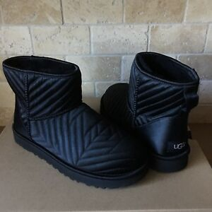 Ugg Classic Mini Quilted Satin Sheepskin Black Boots Booties Size Us