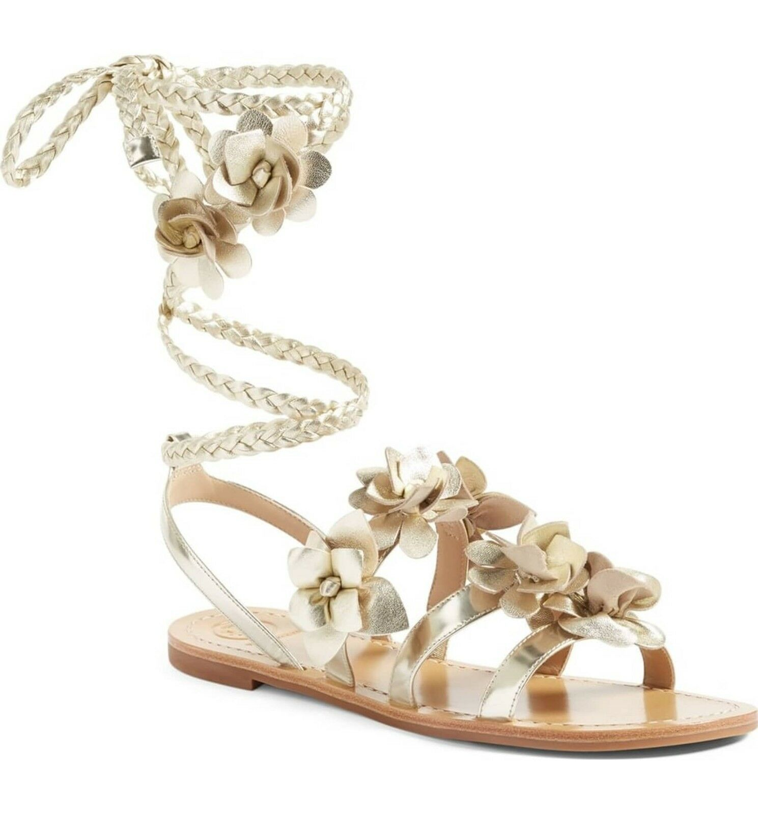 295 NEW Tory Burch Women Blossom Flower Gladiator Sandals shoes Spark gold US 6