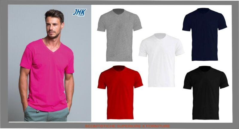 T-shirt Neck Jhk Maglia In Cotone Scollo A V Sport Palestra Divisa Passeggio