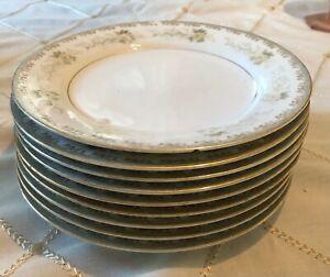 "SET of 9 Noritake Brunswick 5410 salad Plates 8"" Gold Rim Floral Staining Faded"