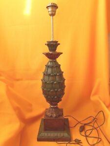 Vintage Annees 70 Pied De Lampe Ananas En Bois Sculpte Peint Design