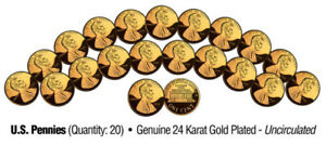 Lot-of-20-Pennies-Uncirculated-U-S-Coins-GENUINE-24K-GOLD-PLATED-Lincoln-Cent